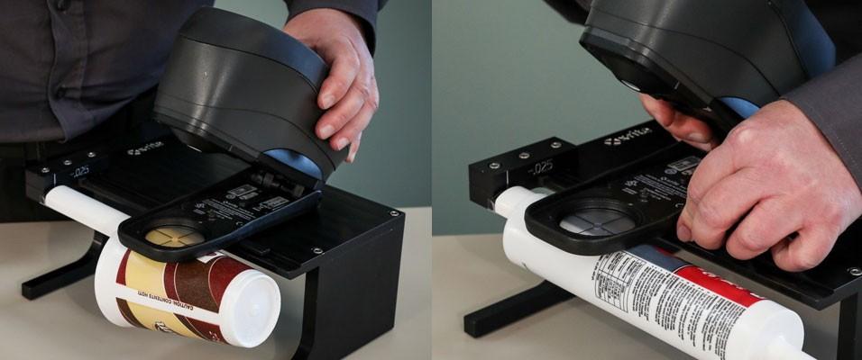 Новое приспособление для измерения цвета на цилиндрических поверхностях (Cup and Cylinder Fixture)  совместно со спектрофотометрами  eXact и линейкой  спектрофотометров X-Rite Ci6x,  позволяет измерять цвет на стаканчиках и образцах цилиндрической формы...