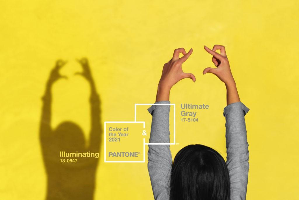 Цвета Pantone® на 2021: PANTONE® 17-5104 Ultimate Grey (Безупречный серый) + PANTONE 13-0647 Illuminating (Освещающий)
